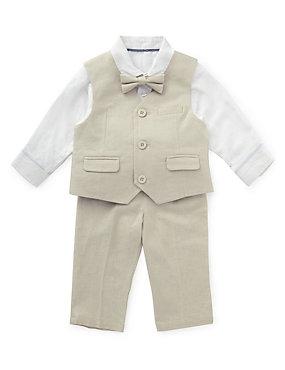 beige trousers and waistcoat baby boys wear