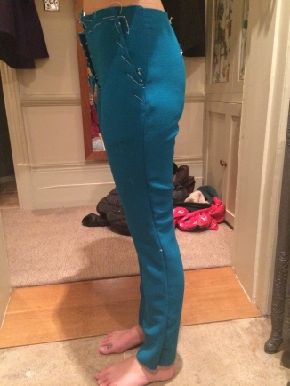 Fitting tailored wool trousers